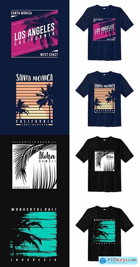 Wonderful Summer Trees Illustration Template for T-shirt