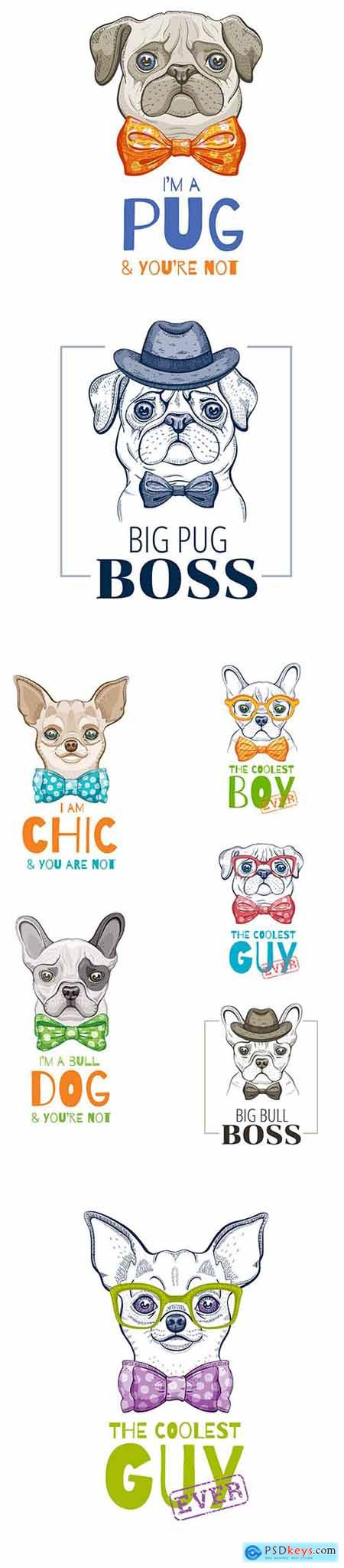 Cute Dog Illustration Set