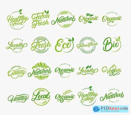 Hand-Written Lettering Logos Vegetarian Natural Organic Farm