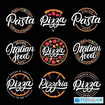 Set of Pizza and Pasta Italian Food Lettering Logos