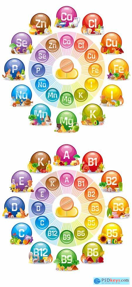 Vitamin and Mineral Supplement Icon Set