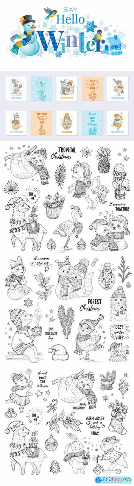 Christmas Set of Sketch Tropical Animals and Card Template