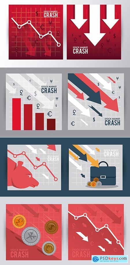 Stock Market Crash with Arrows Down Illustration