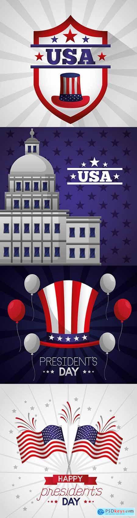 Happy Presidents Day Illustration Set