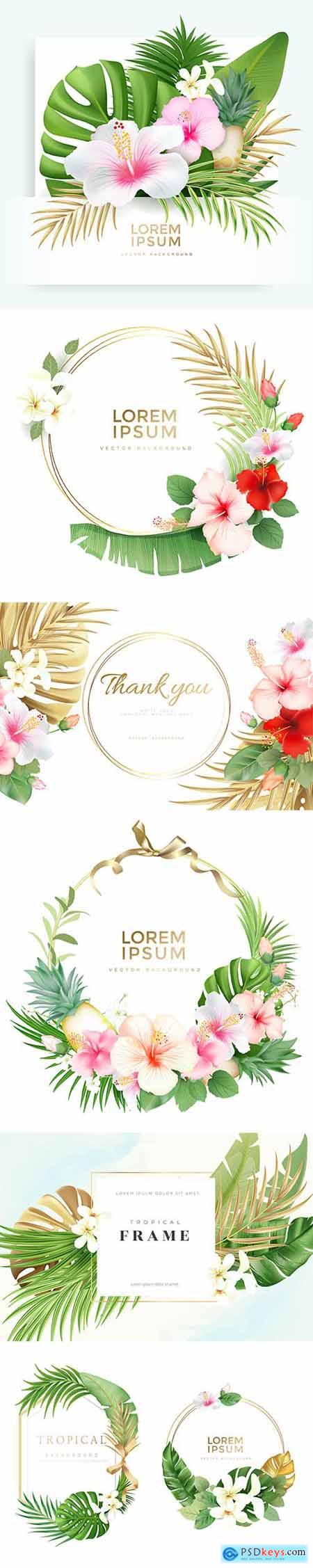 Tropical Floral Wreath Frame with Exotic Nature