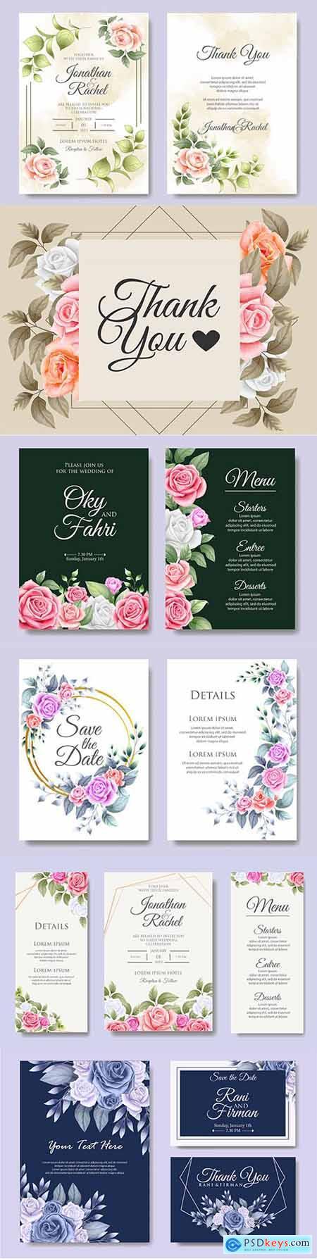 Elegant wedding invitation template flowers and leaves 2
