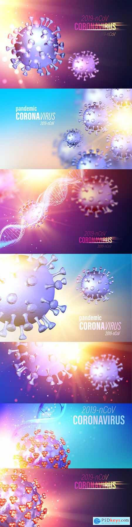 Computer model of coronavirus bacteria in futuristic rays