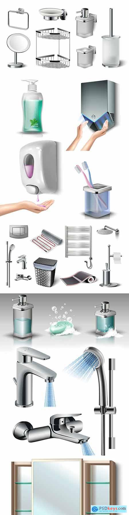 Bathroom and toilet room accessories realistic illustrations