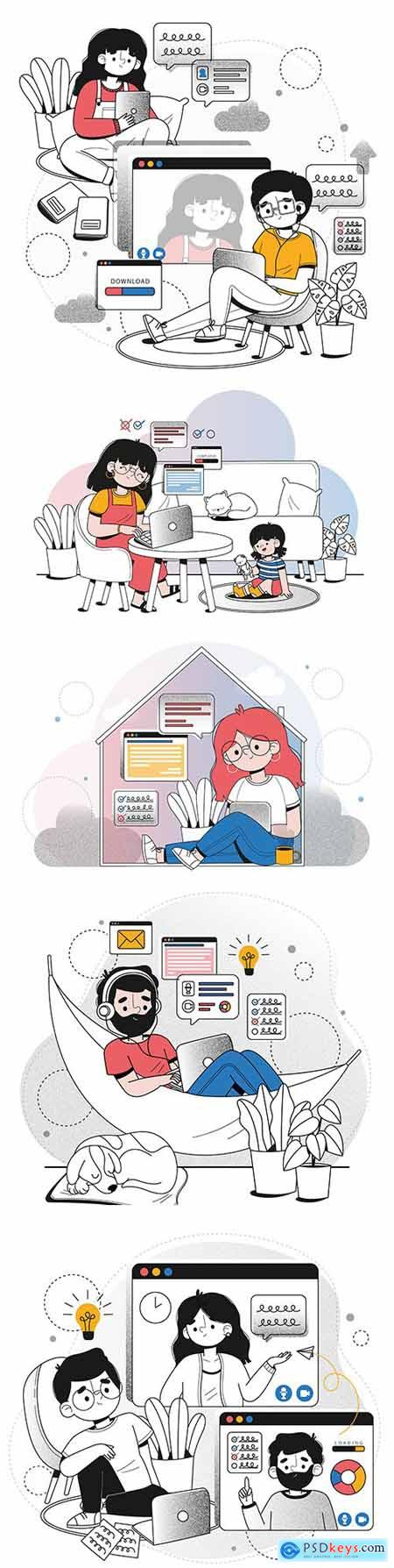 Remote work at home concept of illustration