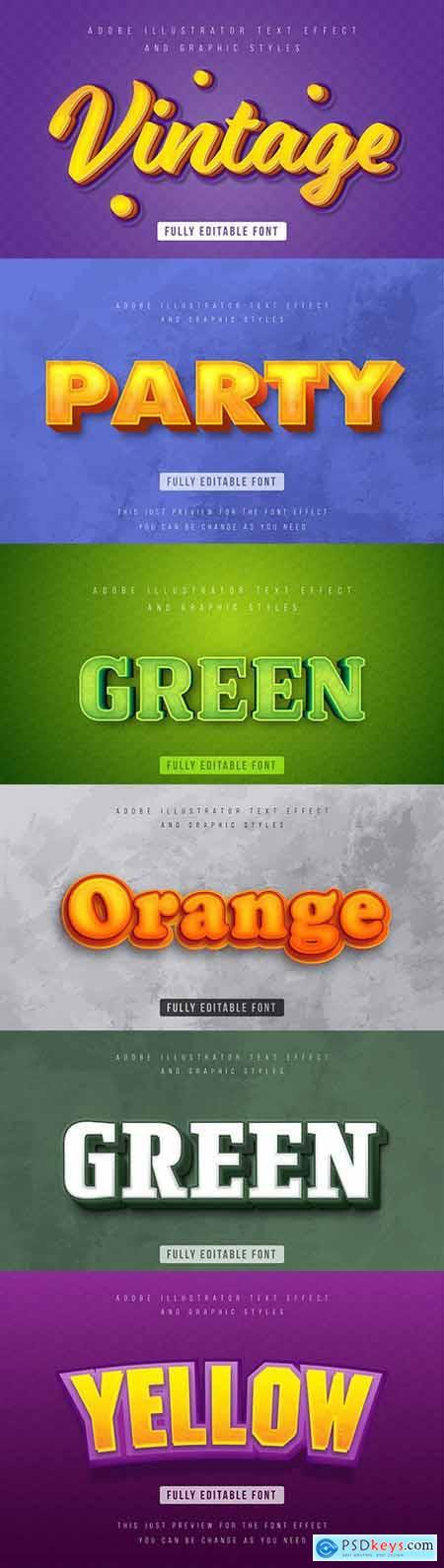 Editable font effect text collection illustration design 48