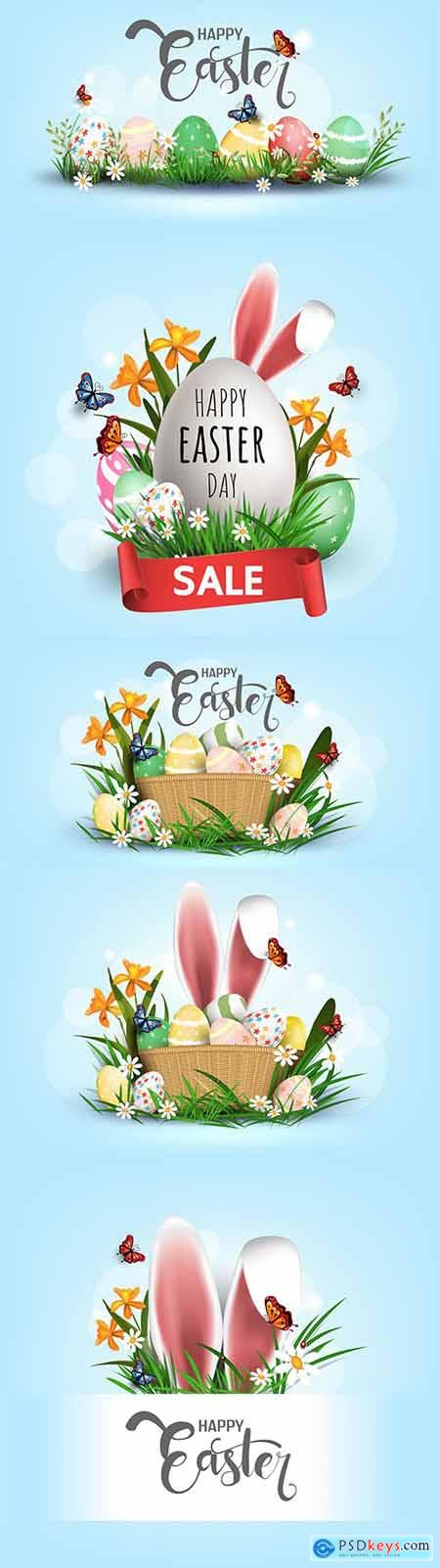 Happy Easter eggs in green grass with white flowers design