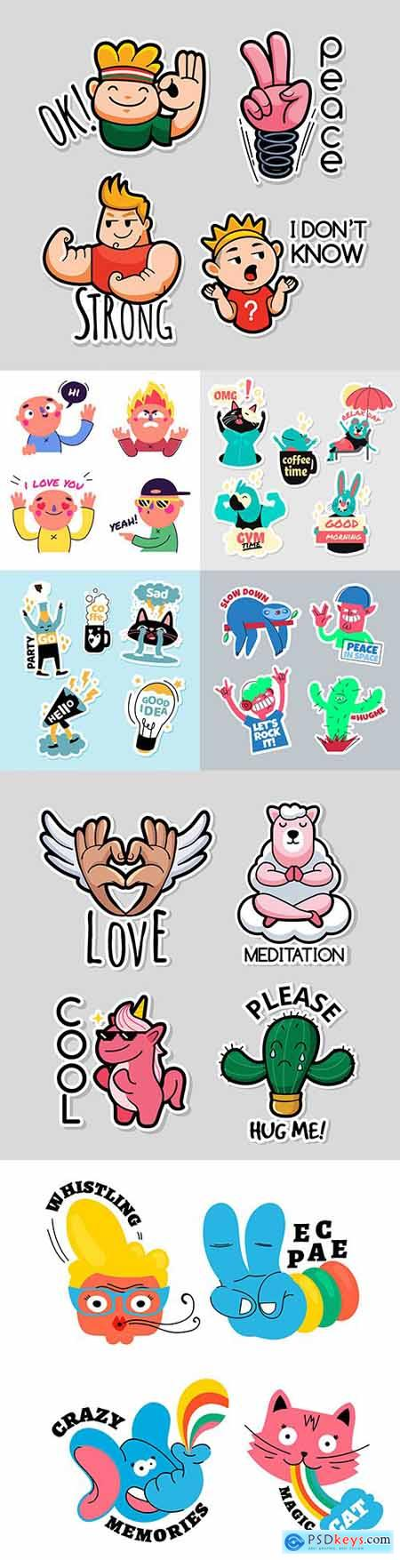 Funny stickers animals and people cartoon design