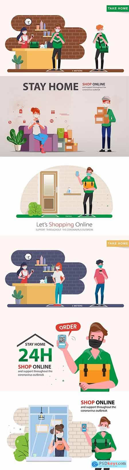 Coronavirus stay home and shop online with delivery