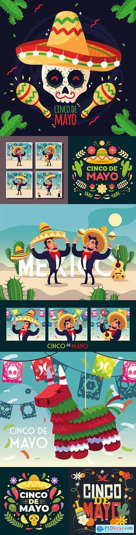 Synco de Mayo Mexican holiday premium illustration 4