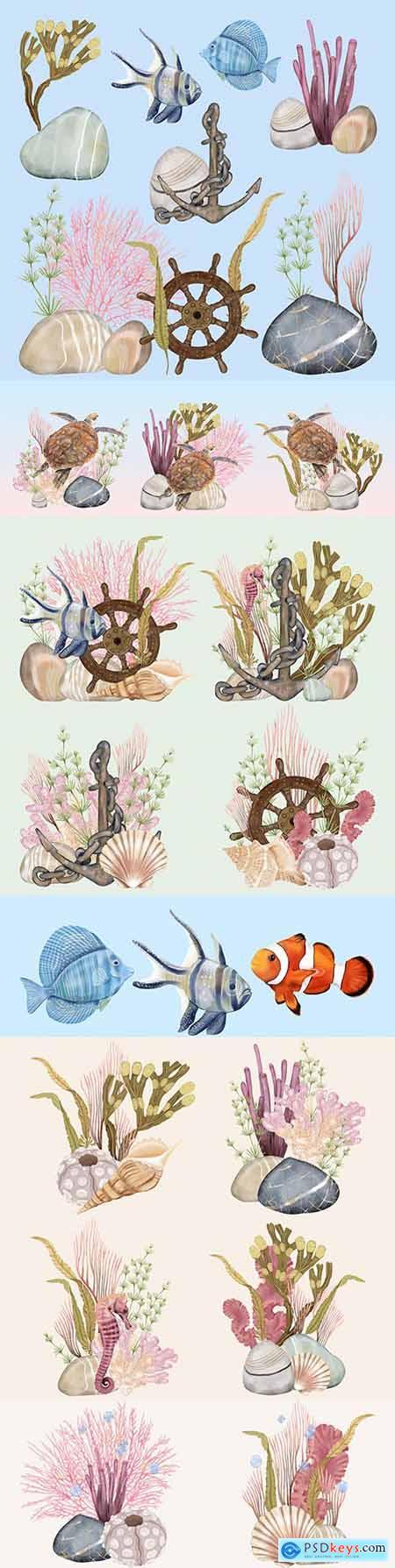 Underwater world and marine multicolored fish with algae