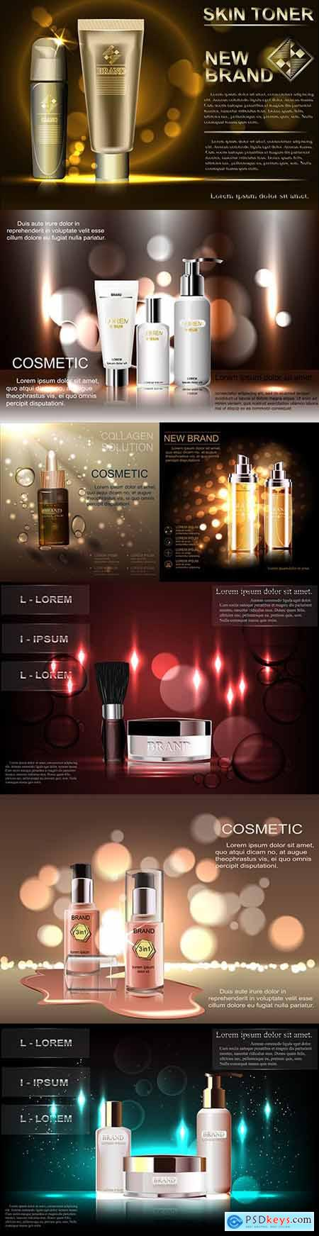 Exquisite cosmetic template, blank layout with glittering background