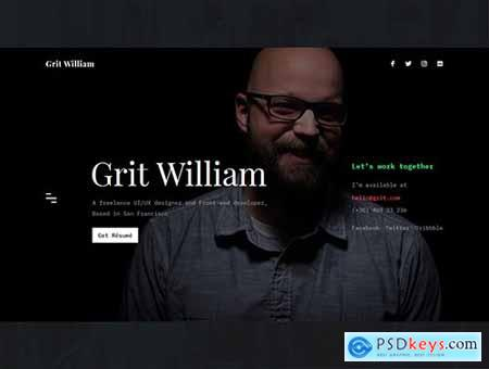 Grit - Portfolio-CV-Resume HTML Template