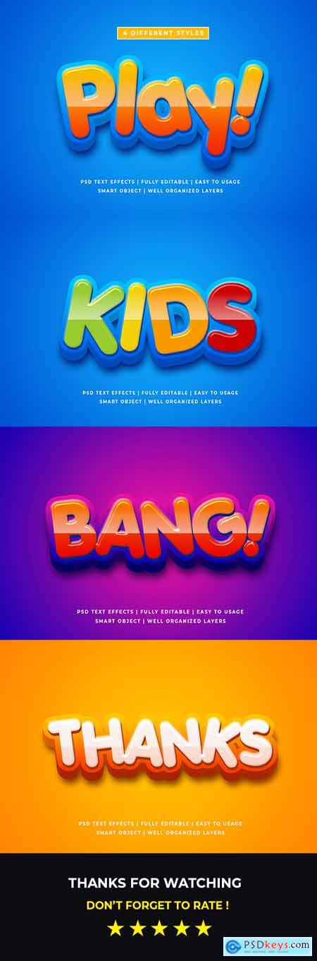 Cartoon Colorful 3d Text Style Effect Mockup 26054607