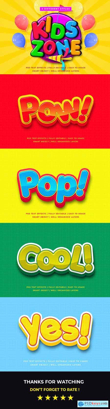 Kid Zone Cartoon 3d Text Style Effect Mockup 26208519