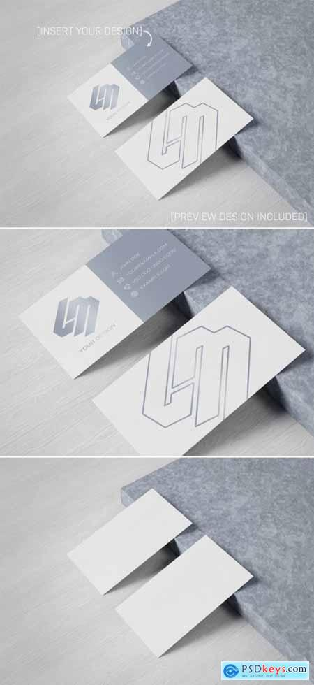 Business Card on Wood and Concrete Mockup 334820086
