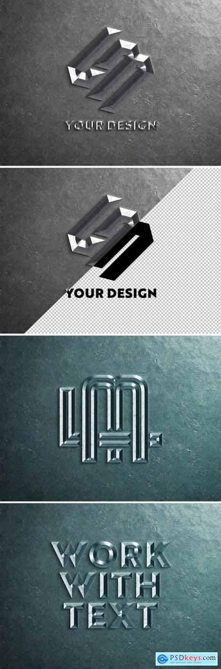 Chiselled Metal Logo Mockup 334803149
