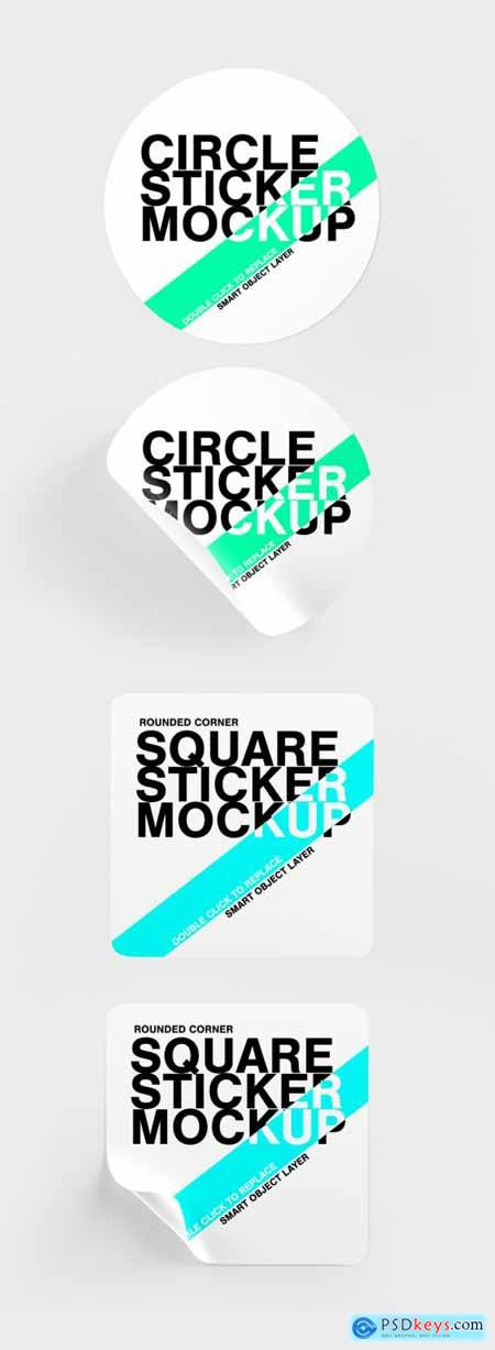 Mock Up of Circle and Rounded Corner Square Stickers 335054435