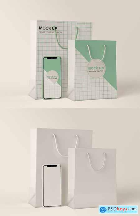 Smartphone and Paper Shopping Bag Mockup 334814740