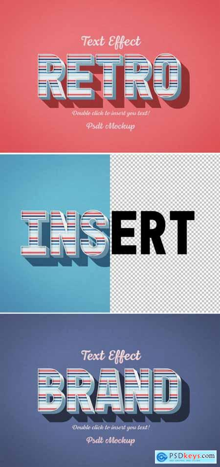 Retro 3D Text Effect with Blue and Red Stripes 334817019