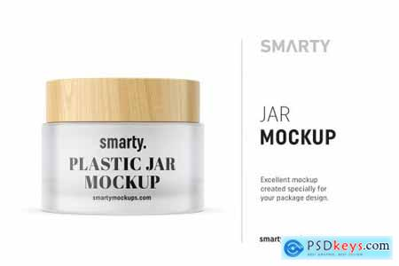 Frosted jar mockup with wooden cap 4708383