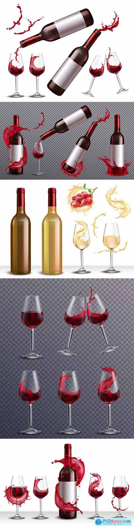 Bottle of red and white wine realistic set with glasses