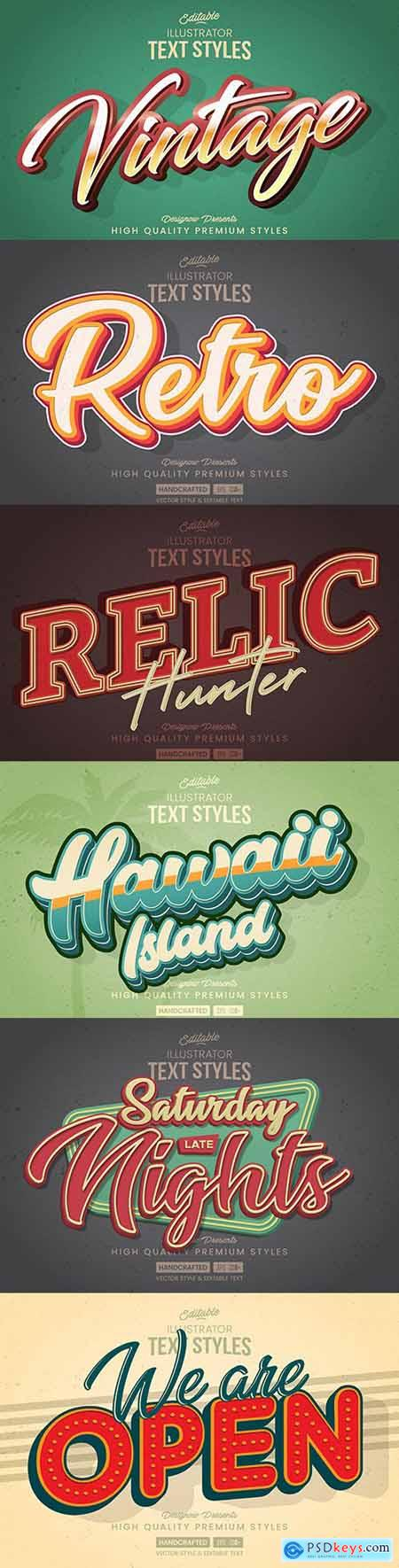 Editable retro font effect text collection illustration design