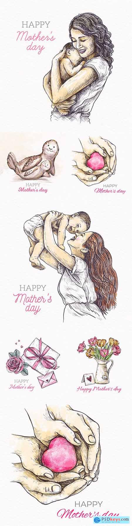 Mother s Day design with flowers watercolor illustrations