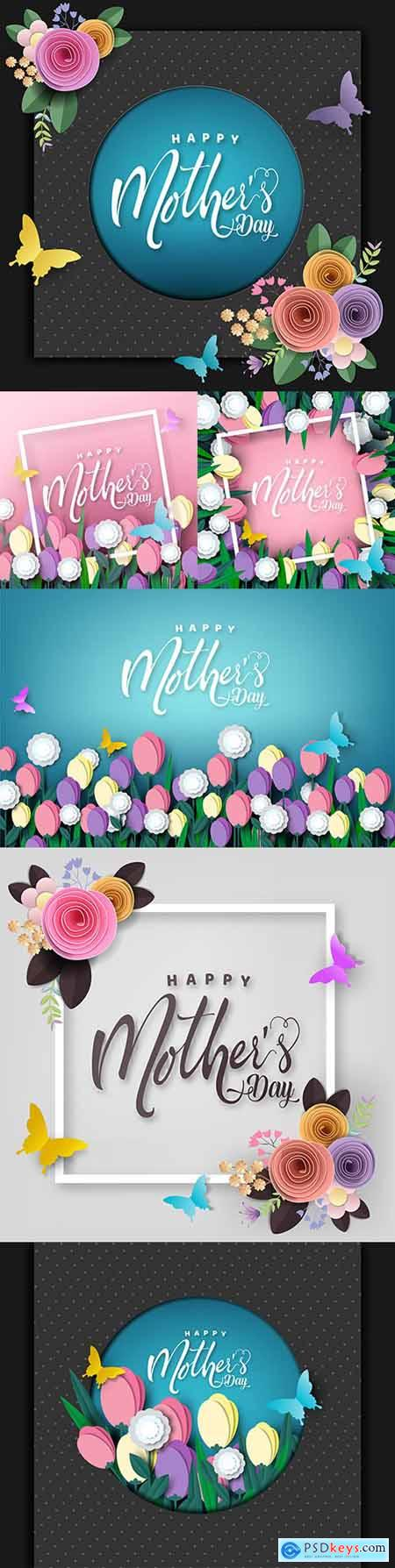 Mother s day card design butterfly paper flowers