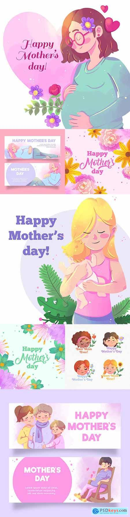 Mother s day watercolor design of woman with child