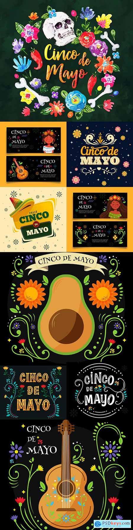 Synco de Mayo Mexican holiday premium illustration 3