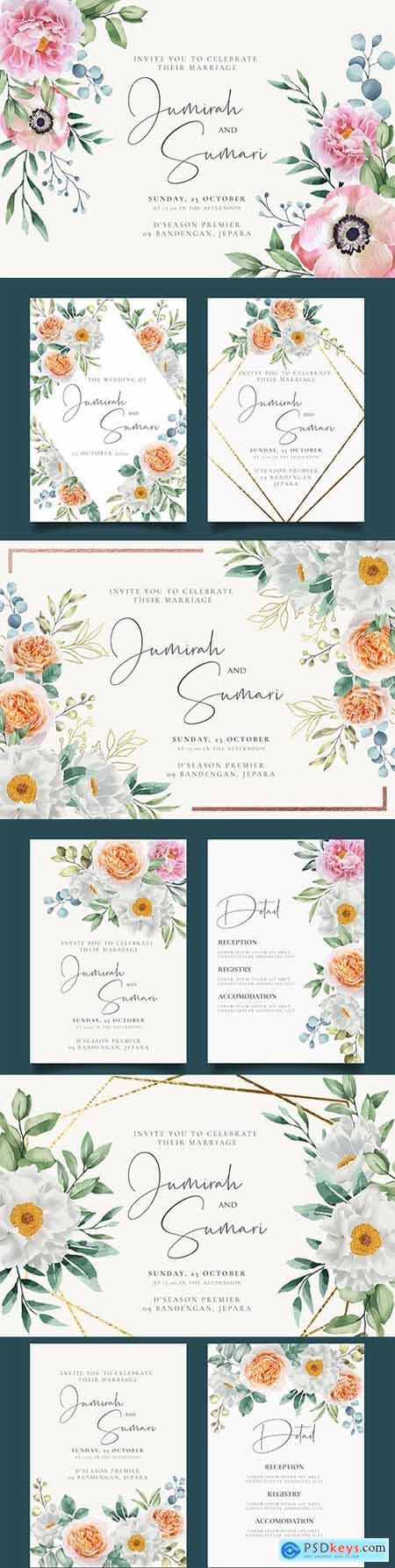 Elegant wedding invitation with floral watercolour background