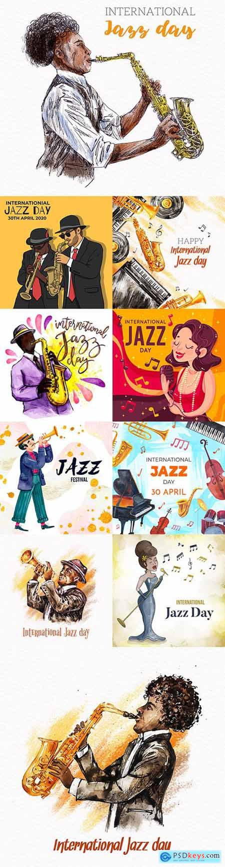 International Jazz Day illustrated watercolor design