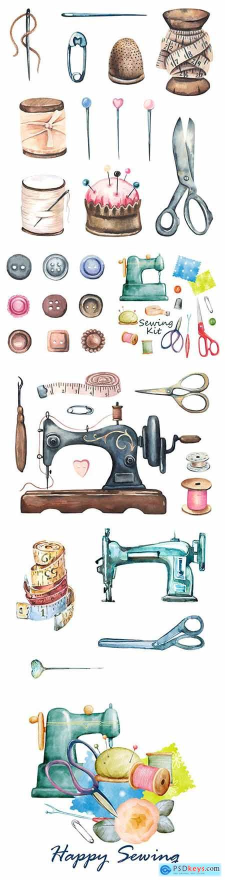 Sewing machines, buttons, pins ancient sewing set watercolor