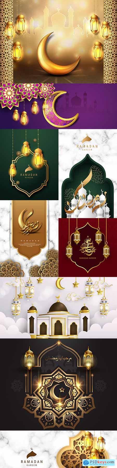 Ramadan Kareem Arabic calligraphy postcard gold design