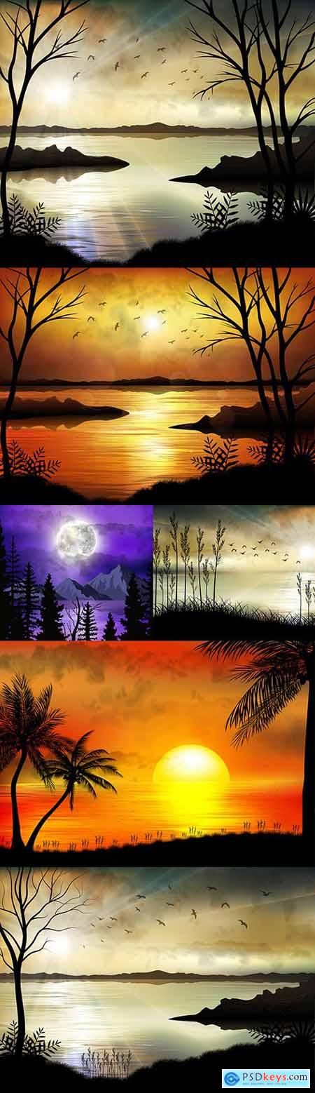 Tropical sunrise on the sea coast beautiful illustrations