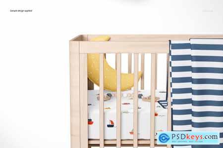 Fitted Crib Sheet + Adds Mockup Set 4394411