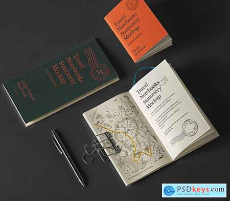 Travel Notebook Stationery Mockup