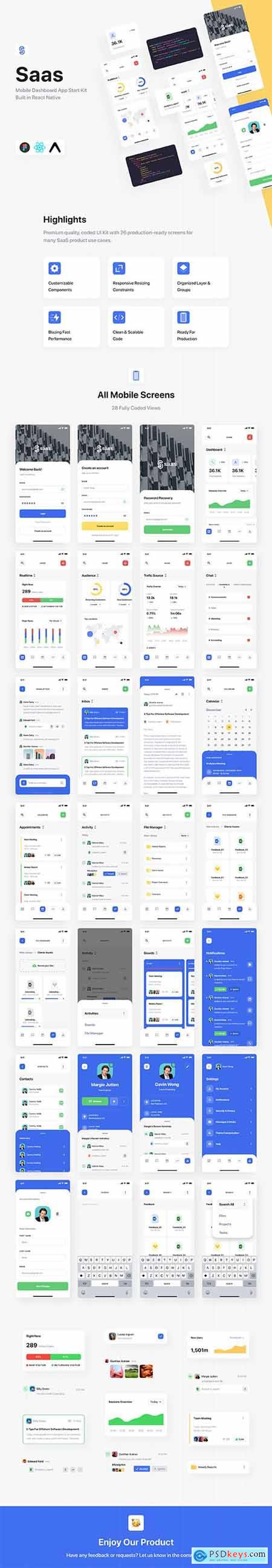SaaS Dashboard App Starter Kit + React