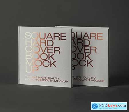 Square Book Psd Hardcover Mockup