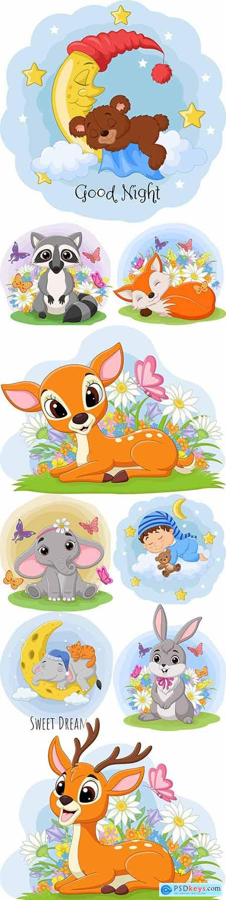 Cartoon animals with flowers and butterflies illustration