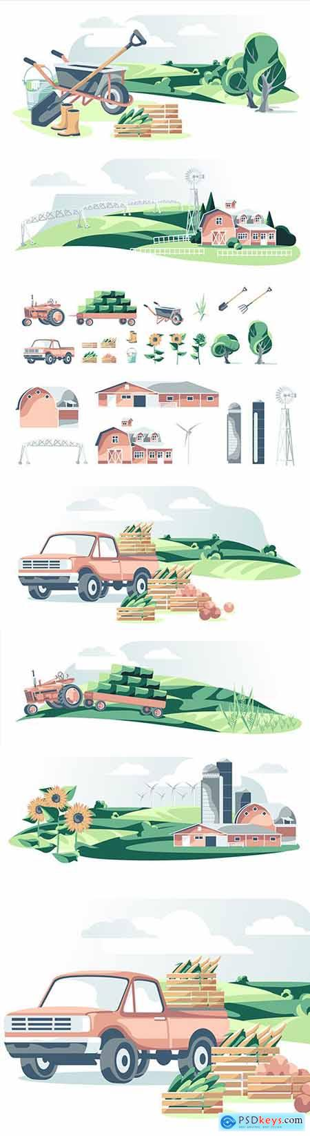 Agricultural equipment and landscape illustration
