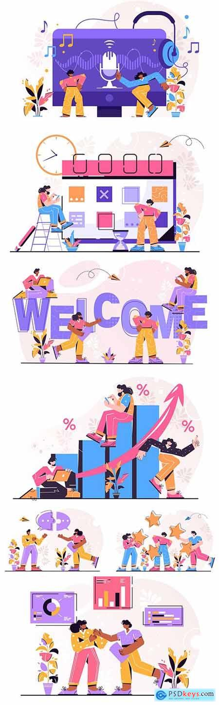 Business people and time management concept illustrations
