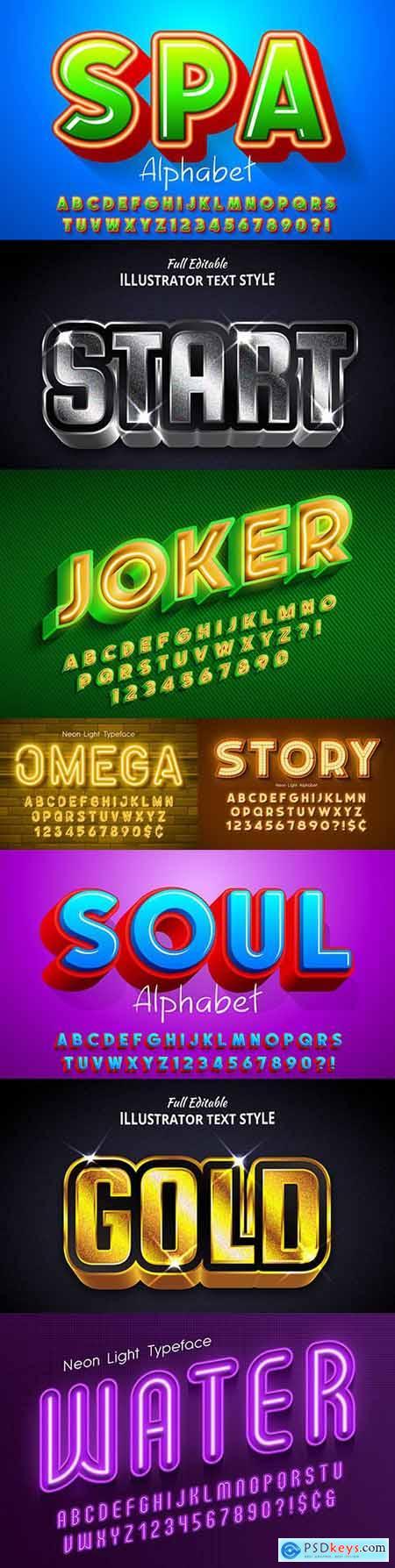 Editable font effect text collection illustration design 50