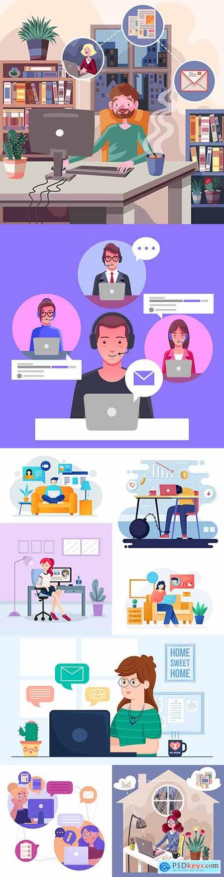 Remote work at home concept of illustration 3