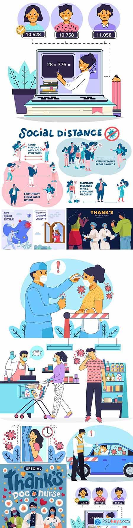 Coronavirus temperature check and self-isolation concept illustrations